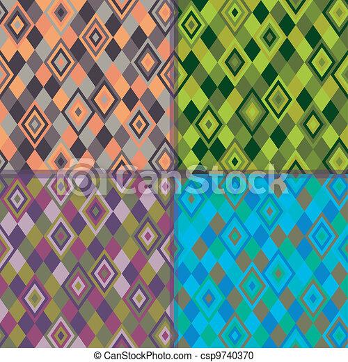 Geometric pattern - rhombus 4 colors - csp9740370