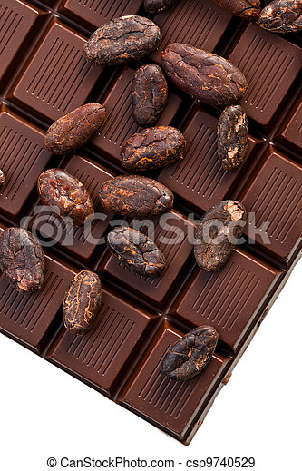 chocolate and cocoa beans - csp9740529