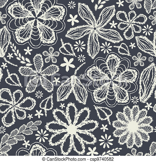 Seamless shabby floral hand-drawn curly pattern  - csp9740582