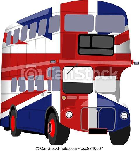 British Union Jack Flag Bus - csp9740667