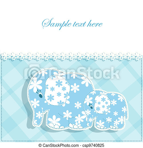 Baby card with elephants - csp9740825