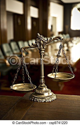 Decorative Scales of Justice in the Courtroom - csp9741220