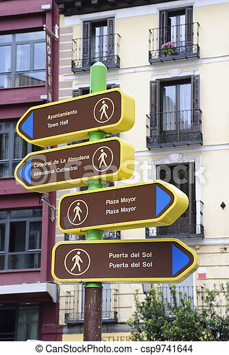 Tourist attraction sign, Madrid - csp9741644
