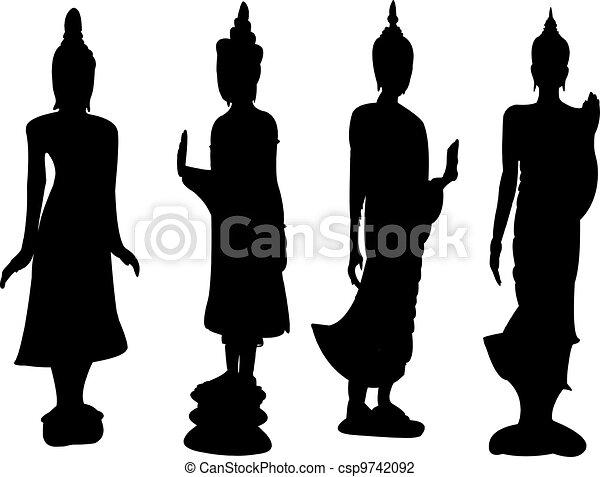 Thai standing Buddha. - csp9742092