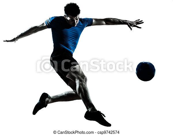 man soccer football player flying kicking - csp9742574