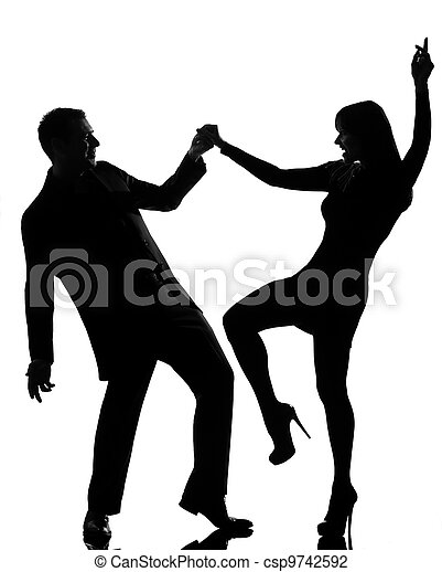 one couple man and woman dancing rock - csp9742592