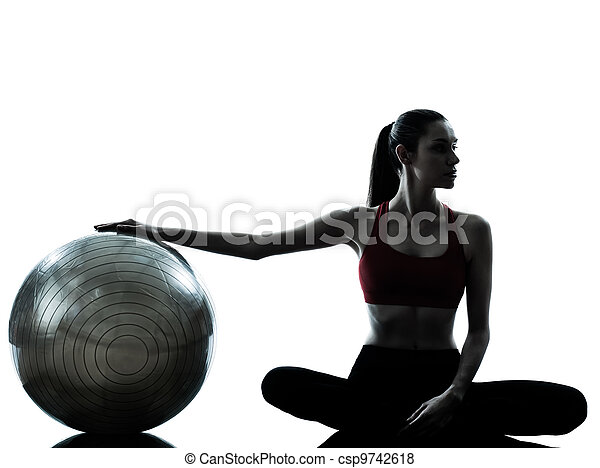 woman exercising fitness ball - csp9742618