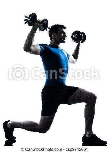man exercising weight training workout fitness posture - csp9742661