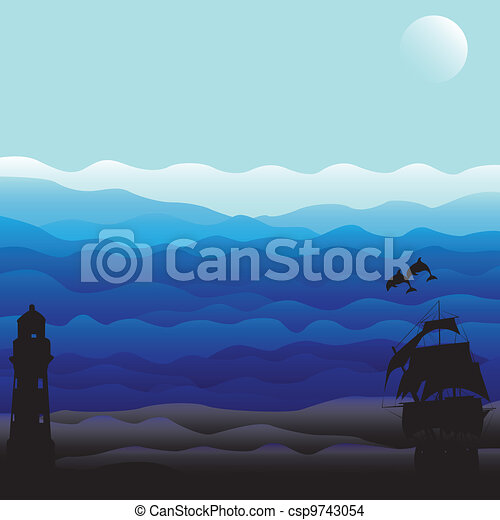 Marine background with silhouettes - csp9743054
