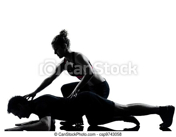 one couple man woman exercising workout fitness - csp9743058