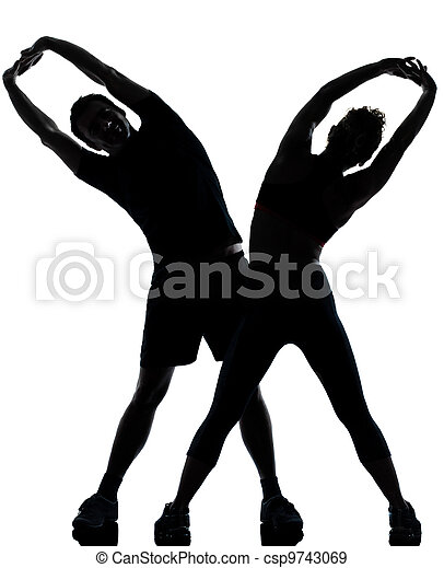 one couple man woman exercising workout fitness - csp9743069