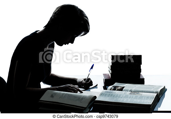 one caucasian young teenager silhouette boy or girl studying reading books in studio cut out isolated on white background - csp9743079