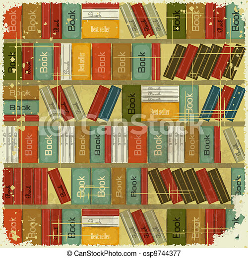 Vectors Illustration of Vintage Book Background - Bookcase Vector Background -... csp9744377 ...