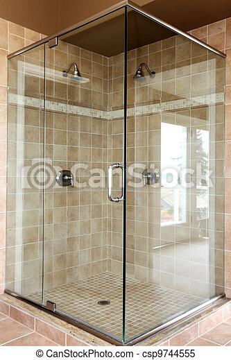 Stock bilder von modern spaziergang dusche glas beige - Fliesenmuster dusche ...