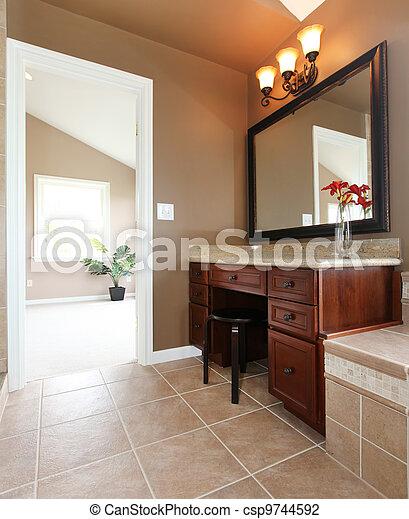 Stock foto van bruine badkamer interieur maken op bureau spiegel csp9744592 zoek - Bruine en beige badkamer ...