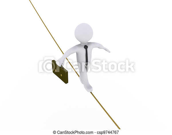 Businessman is walking on tightrope - csp9744767