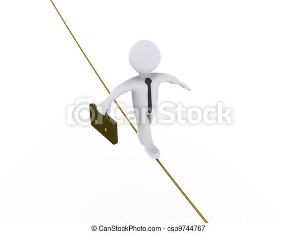 Businessman is walking on tightrope - csp9744767