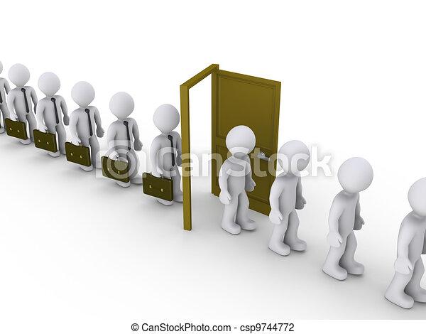 Businessmen are walking through door of unemployment - csp9744772