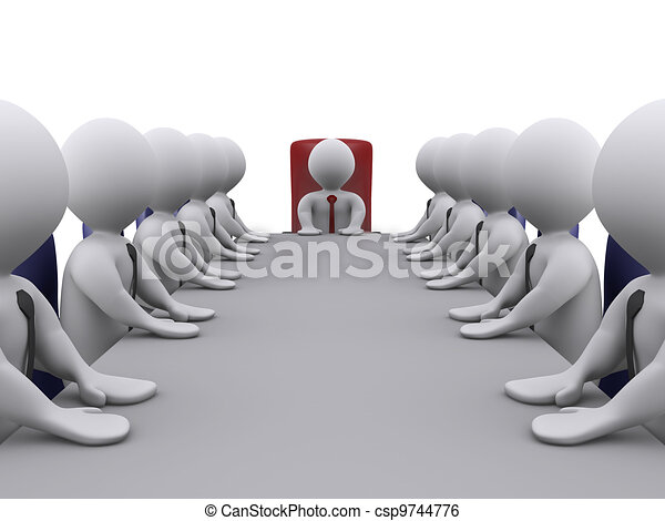 Boss and employees in a meeting - csp9744776