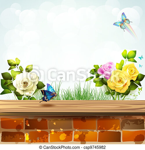 Landscape with brick wall  - csp9745982