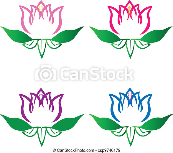 Set of lotus flowers logo vector - csp9746179