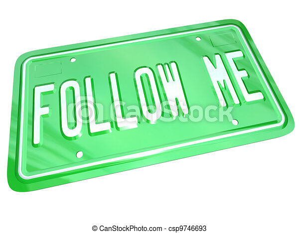 Follow Me License Plate Leader Showing the Way - csp9746693
