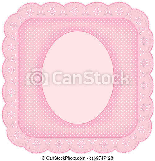 Picture Frame, Pink Eyelet Lace - csp9747128