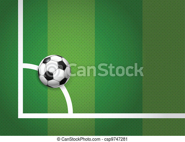 Soccer ball lying on the corner of the game field - csp9747281