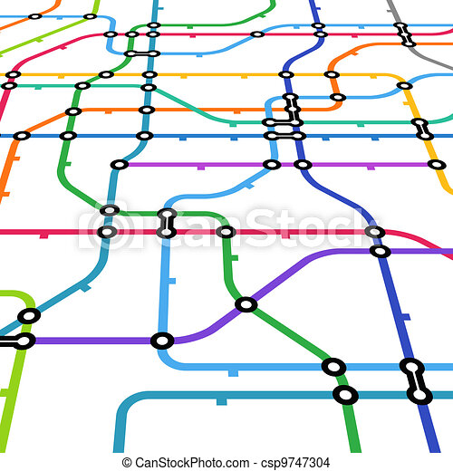 Abstract color metro scheme in perspective - csp9747304