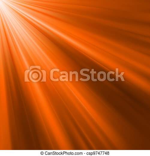 Orange luminous rays. EPS 8 - csp9747748