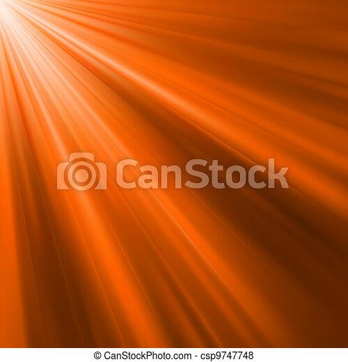 Orange luminous rays. EPS 8 - csp9747748