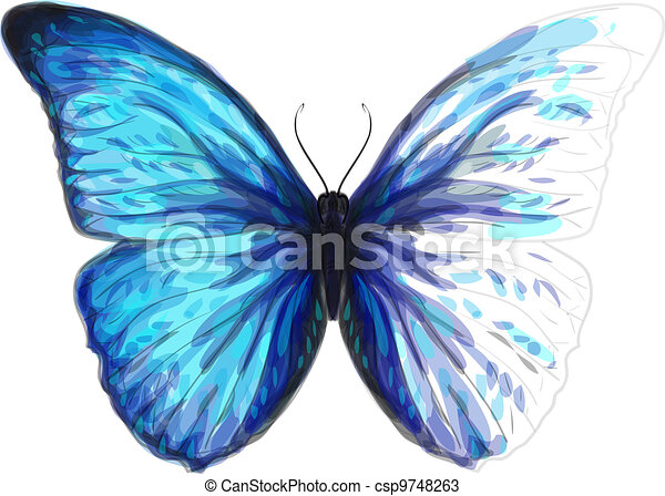 Butterfly  Morpho Anaxibia. Unfinished Watercolor drawing imitation. Vector illustration. - csp9748263