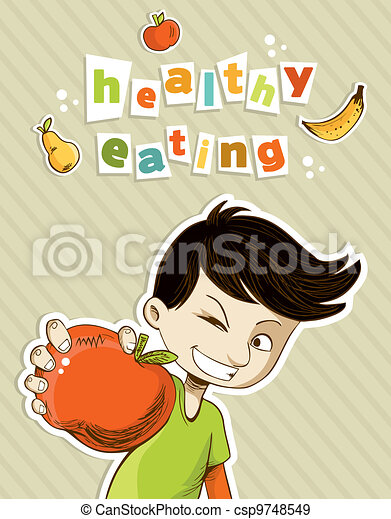 Happy teenager present healthy food - csp9748549