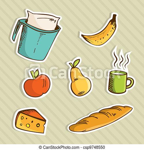 Healthy cartoon food - csp9748550