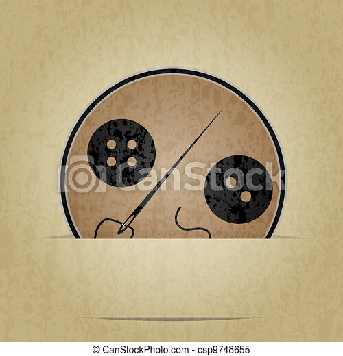 Clothes button set with needle - csp9748655
