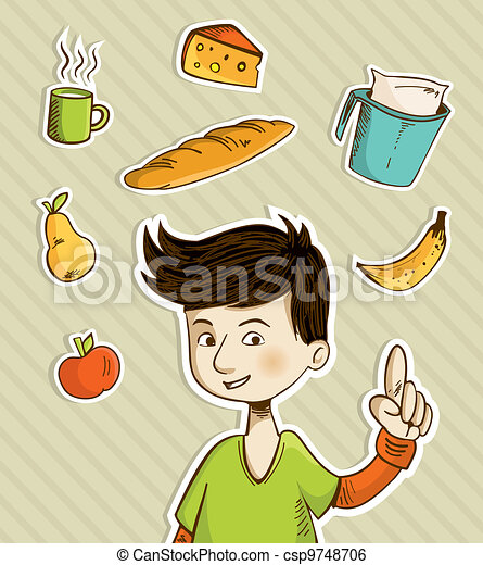 Cartoon teenager shows healthy food - csp9748706