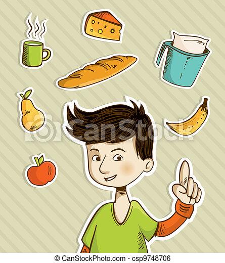 Cartoon teenager shows healthy food - csp9748706
