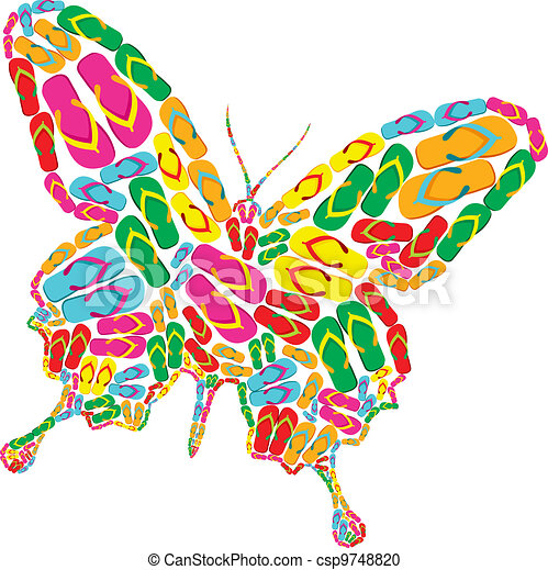 Vector Clipart of Flip flops butterfly - Butterfly shape made with ...