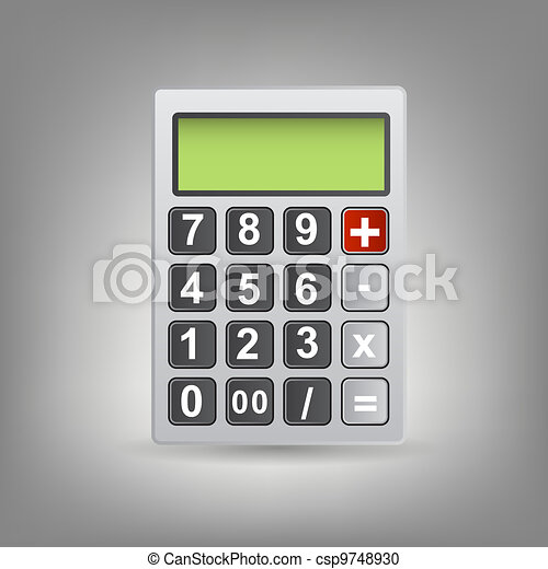 Vector calculator icon with gray buttons - csp9748930