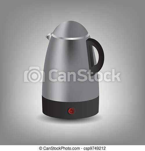Stainless steel electric kettle icon vector illustration - csp9749212