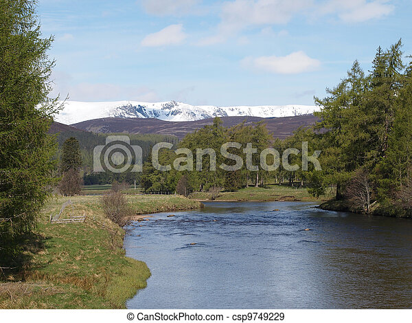 River Dee , east of Braemar, Scotland. - csp9749229