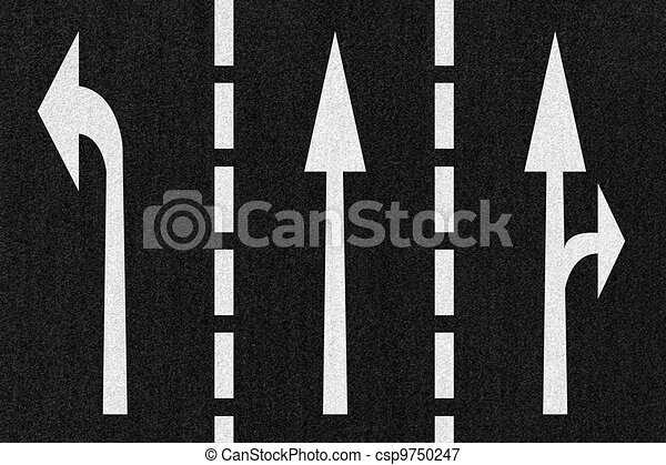 Street Road Arrows Direction on Asphalt Texture - csp9750247