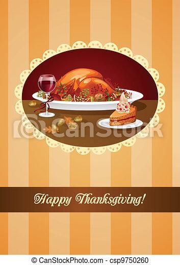 Thanksgiving dinner greeting - csp9750260