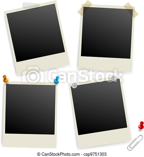 Six empty picture frames - csp9751303