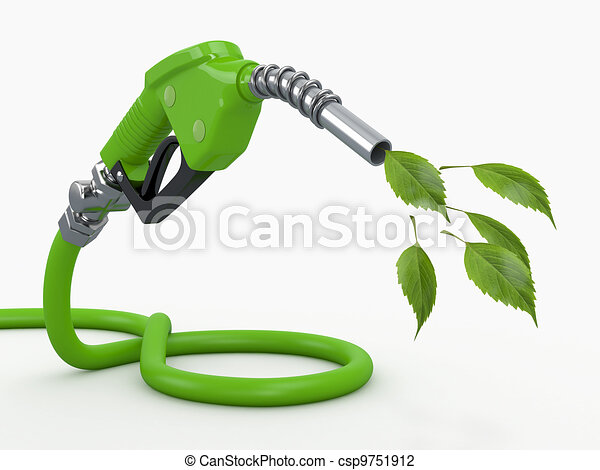 Green conservation. Gas pump nozzle and leaf - csp9751912