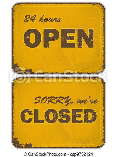 set of grunge yellow signs: open - closed - 24 hours - csp9752124