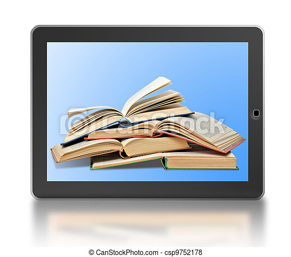 Symbol of digital library and e-reader - csp9752178