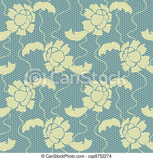 Gentle lace vector fabric seamless pattern - csp9752274