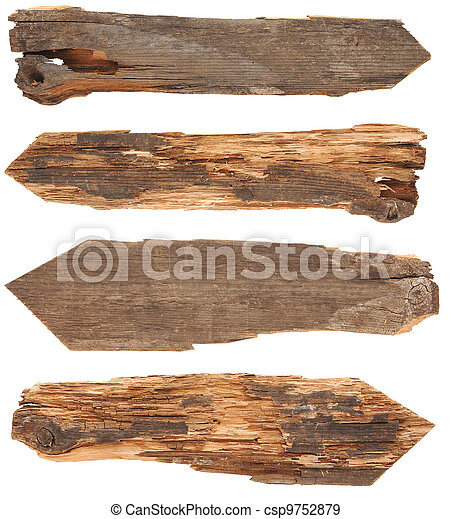 collection of wooden signs on white background - csp9752879