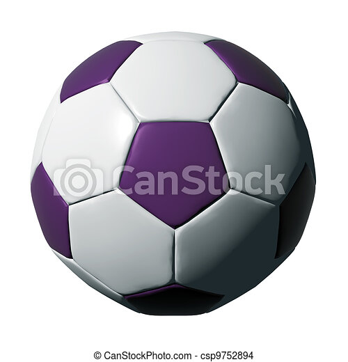 Purple leather soccer ball isolated on white - csp9752894